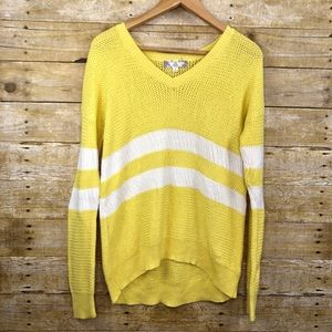 Pink Rose V Neck Sweater Yellow White Stripes